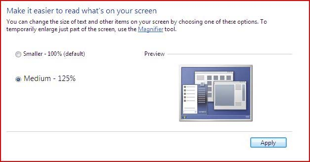 How to make text larger in Windows 7