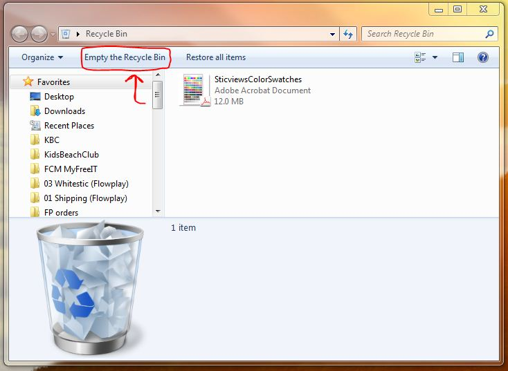 empty your computer's recycle bin to free up hard drive space